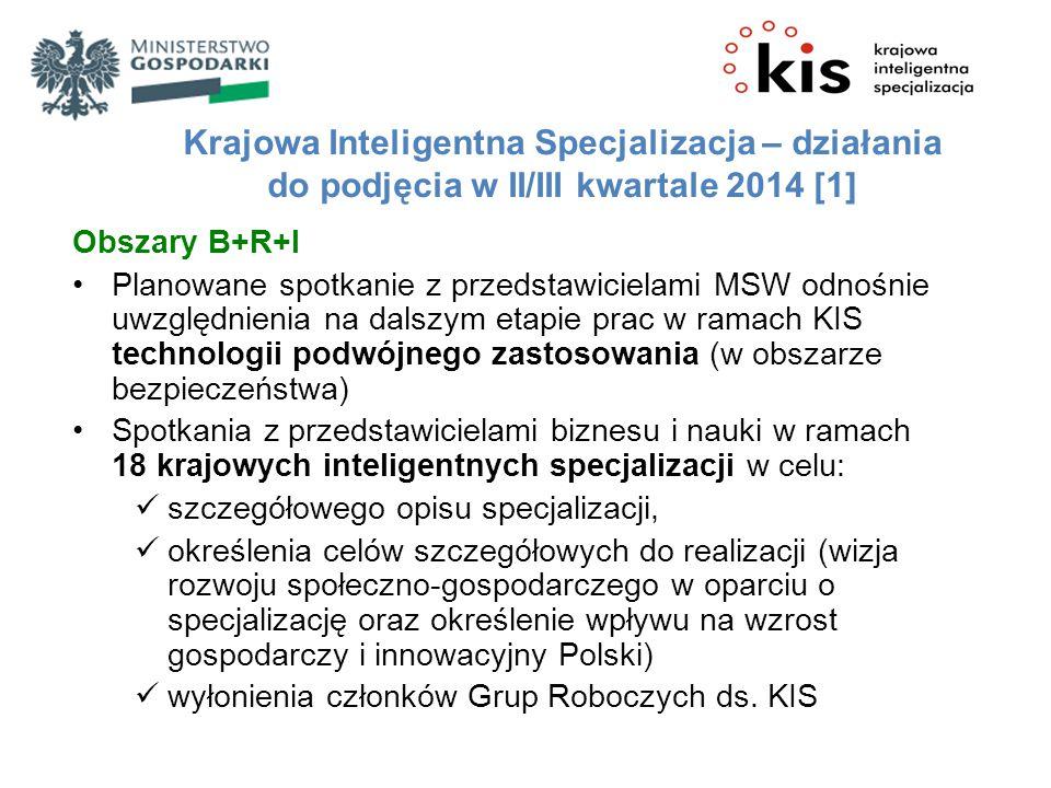 Krajowa Inteligentna Specjalizacja – działania do podjęcia w II/III kwartale 2014 [1]